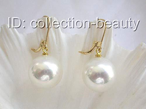 FidgetGear Stunning Big 16mm Round White South sea Shell Pearl Dangle Earrings 14K m533