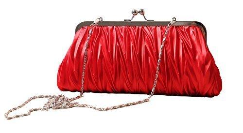 (Red) Women Vintage Satin Pleated Evening Cocktail Wedding Party Handbag Clutch Purse w/Shoulder Chain by Zakka Republic (CLT-02-E)