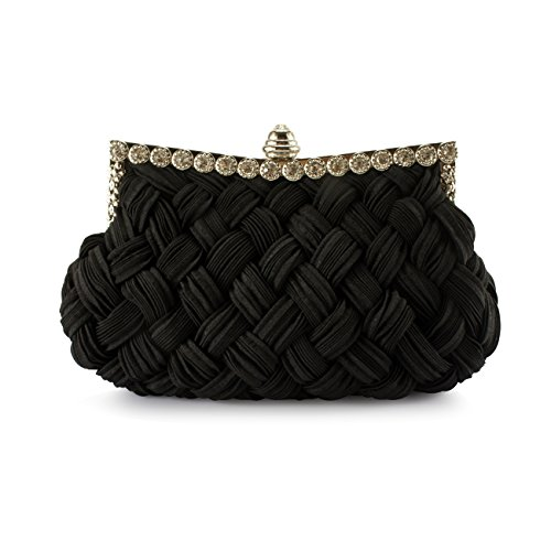 Cocktail Wedding Clutch Shoulder Womens Evening Evening Bag Purse Bag Pleated and Black Braided Party Wit amp; Handbag Fit wOzOZv