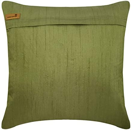 The HomeCentric Handmade Green Euro Sham Covers 26×26 inch 65×65 cm , Silk Euro Pillow Covers, Nature Floral, Tree, Beaded, Tropical European Pillow Covers – Green Tree