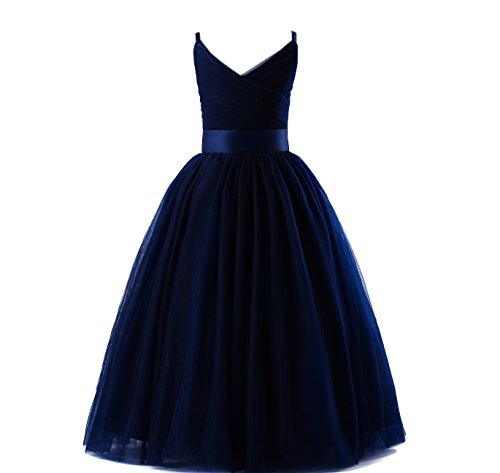Glamulice Girls Lace Bridesmaid Dress Long A Line Wedding Pageant Dresses Tulle Spaghetti Strap Party Gown Age 3-14Y (13-14Y, V-Navy Blue)