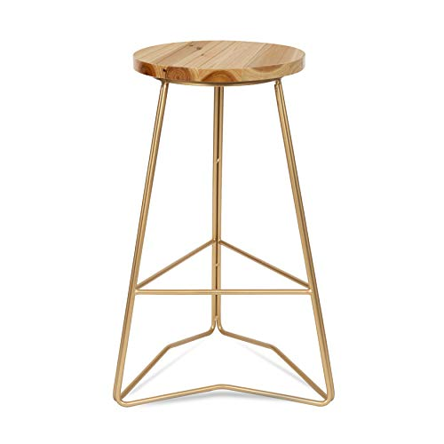 Kate and Laurel Godwin Backless Modern Counter Height Bar Stool, 25-Inch, Gold Metal Base with Natural Wood Finish Seat