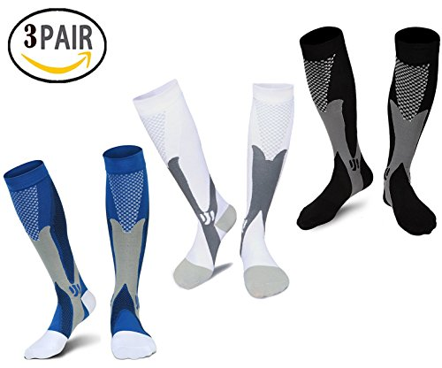 Compression Socks Men Women, Best Graduated Athletic Fit Compressions Sock for Running, Nurse, Shin Splints, Travel, Maternity Pregnancy, Boost Stamina, Recovery Medical Performance Stockings(S/M)