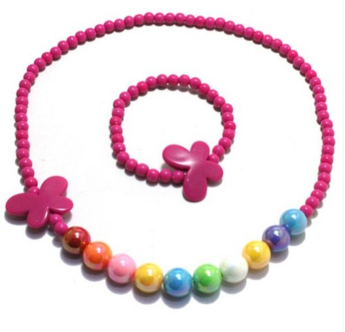 Mondaynoon-Candy-Colored-Bow-Shape-Jewelry-Set-for-Kids-children-Teen-Girls-BabyBirthday-Gift