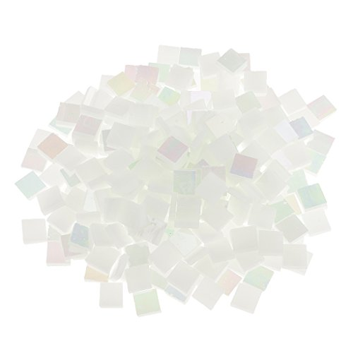 (Jili Online 250 Pieces Colorful Square Vitreous Glass Mosaic Tiles Pieces for DIY Art and Crafts Supplies 10x10mm - Bright white )