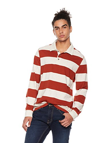 Rebel Canyon Men's Young Long Sleeve Stripe Rugby Polo Shirt Large (Stripe Men T Shirt)