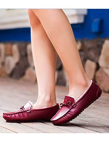 MatchLife Women Vintage Flat Fur Winter Shoes Style2-Red qz50hLc