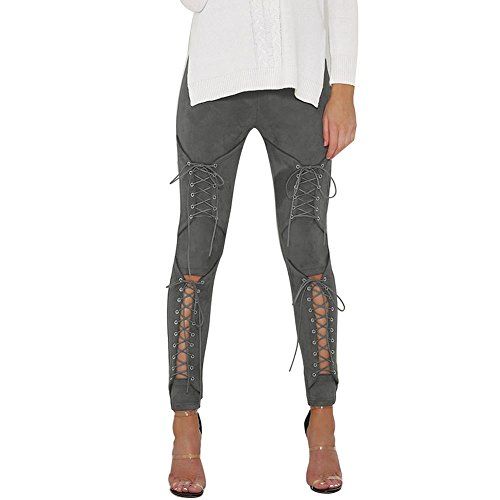 NJunicorn Uncle Women's Faux Suede Leggings High Waist Elastic Stretchy Slim Pencil Pants Bandage Plus(Gray 2/4)(XS)