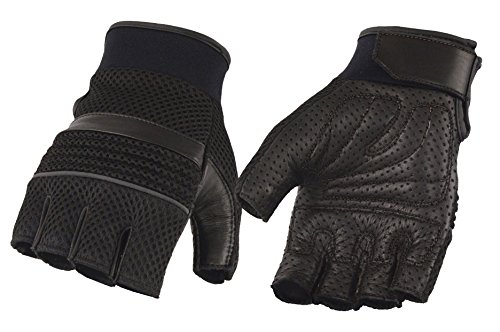 Milwaukee Leather Men's Lthr/Mesh Fingerless Glvs w/Gel Palm-Black-X-Large