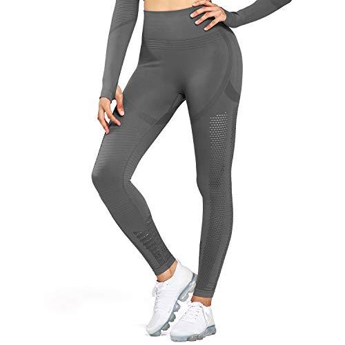 Aoxjox Women's High Waist Workout Sport Gym Arise Prime Seamless Leggings Yoga Leggings (Grey, X-Small)