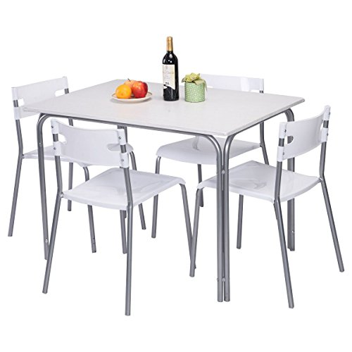 MasterPanel - 5 PCS Dining Table Chairs Kitchen Dining Living Room Dinner Home Furniture #TP3247