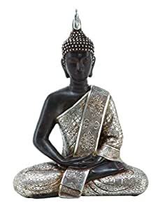 "Deco 79 Tibet Buddha Dhyana Mudra with Silver Robe Polyresin, 11"" H"