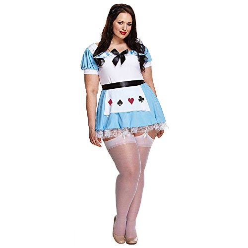 Mad Hatter Costume Tim Burton (Alice Plus Size Fancy Dress Costume (Blue/White))