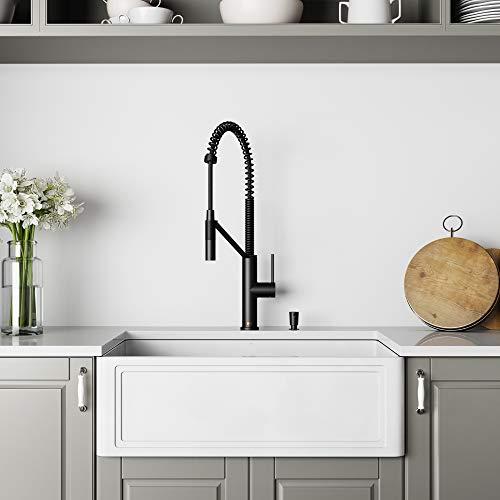 VIGO Crown 30-Inch Farmhouse Kitchen Sink, Apron Front Single Bowl Composite Solid Surface, Matte White Finish