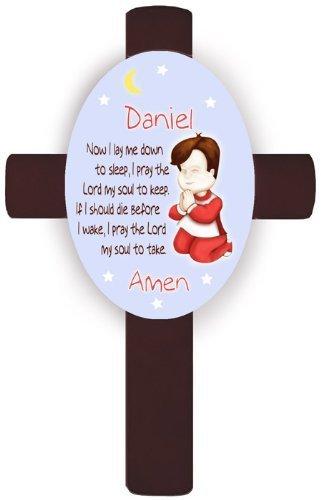 - Personalized Boy's Bedtime Prayer Cross - Brunette - Verse 1