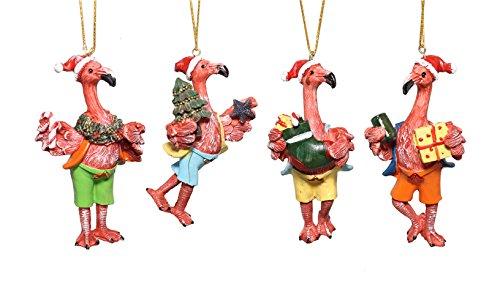 Mayrich Set of 4 Flamingo Christmas Ornaments (4in Ornament Flamingo)