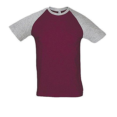 SOLS Raglan T-Shirt Funky 150, White / Red, XL