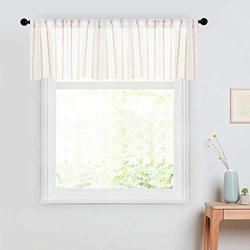 - MRTREES Striped Sheer Valance Curtain 16 inches Long 1 Panel Living Room Pinstripes Linen Textured Valances Bedroom Window Sheer Panels Rod Pocket Kitchen Window Treatments - Ivory Stripe