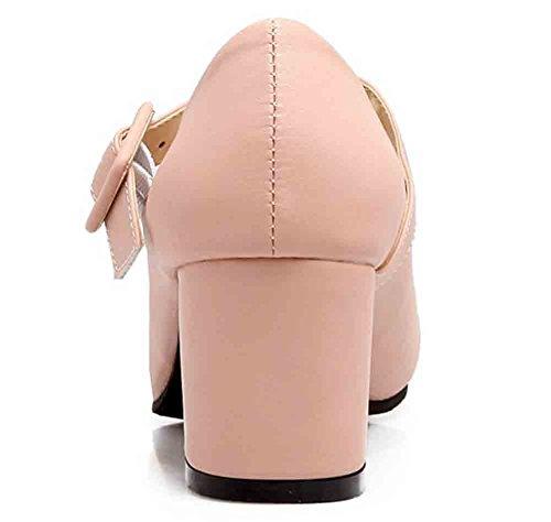 Easemax Womens Sweet Round Toe Low Cut Cinturino Con Fibbia Mid Block Tacco Mary Jane Pumps Rosa