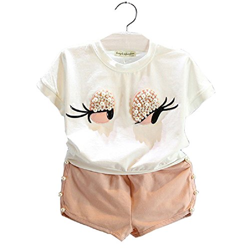 Set Cheese Pearl (Girls Clothing Set Pearl Girl Lovely Long Eyelashes Toddler Girl tops+Pants Suit)