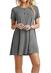 I2CRAZY Women's Short Sleeve Pockets Casual Plain T-Shirt Loose Dresses(09-Short Sleeve-Gray,L)