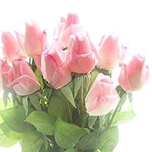 cn-Knight Artificial Flower 12pcs 22'' Artificial Rose Buds with Leaves Gel Coated Silk Flower for Wedding Bridal Bouquet Bridesmaid Home Décor Office Baby Shower Centerpiece,Dark Pink 40