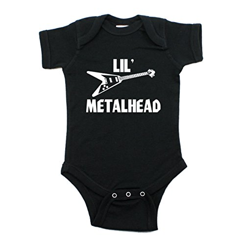 - Crazy Baby Clothing LIL' Metal Head Short Sleeve One Piece Baby Bodysuit In Color 12M, Black