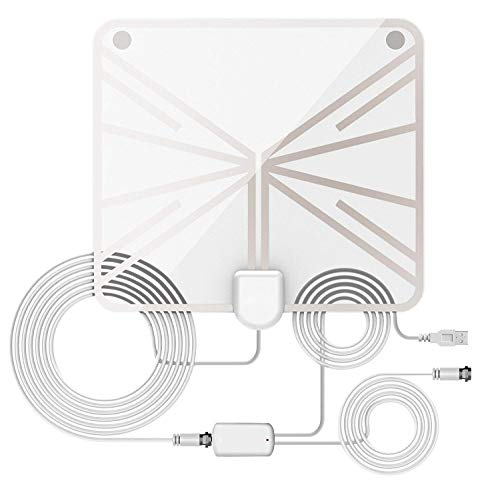 (HD Digital Antenna, Indoor TV Antenna, Long Range Amplified HDTV Antenna 60 to 70 Miles with 13.12 Feet Coaxial Cable (White))