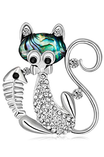 Lxuick Silvery Tone Abalone Colored Stones Green Blue Cat Fish Brooch ()