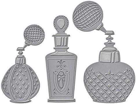 Amazon.com: Retro Perfume Bottle Metal Stencils and 3D Foil Die Cut Crafts Molds Sets No Stamp, Light Grey