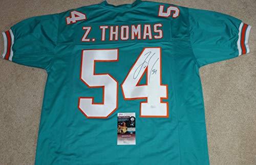 - ZACH THOMAS #54 Signed MIAMI DOLPHINS Aqua Custom JERSEY + JSA COA