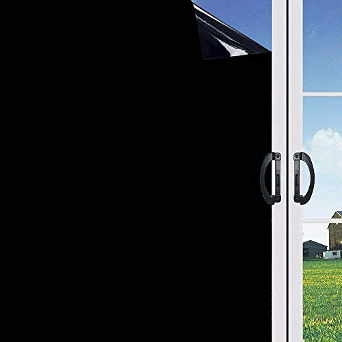 (LINXIN Blackout Window Film Block Light and Hot, Static Cling Privacy Film Non-Adhesive Window Sticker Light Blocking Non-Reflective Black(17.5 x 78.7 inches))