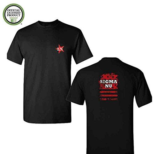 (Sigma Nu Short Sleeve Tshirt- Distressed Stars and Stripes #2- Great Shirts For Sigma Nu Rush- Black Tshirt (2XLarge))