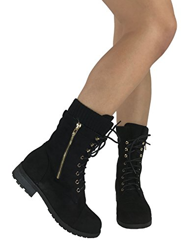 Forever Fashion Fashion Ankle Bootie Faux Suede Leather Round Toe Flat Heel Combat
