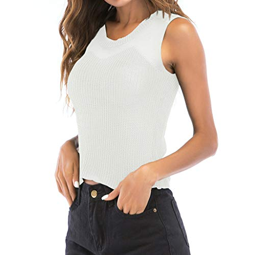 Price comparison product image Benficial Fashion Women O-Neck Solid Knitted Sleeveless Hollow Out Tops Tee White