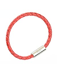 Red Braided Round Leather Bracelet with Stainless Steel magnetic clasp