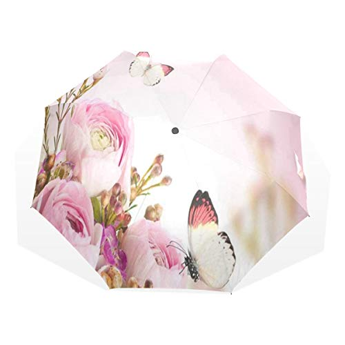 Umbrella Gentle Bouquet Pink Roses Travel Golf Sun Rain Windproof umbrellas with UV Protection for Womens Mens Kids Girls Boys