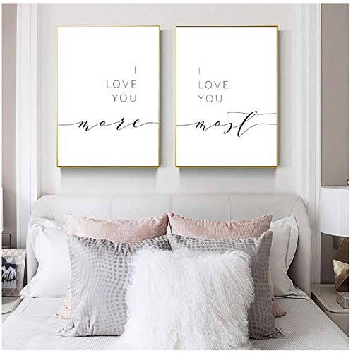 I Love You More I Love You Most Bedroom Wall Decor Romantic Quote Print Above Bed Couples Quotes Poster Art Canvas…