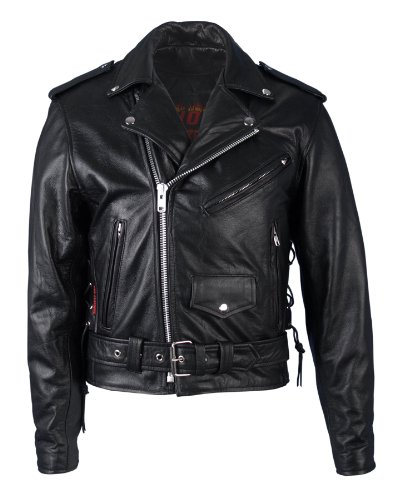 Hot Leathers Classic Motorcycle Jacket with Zip Out Lining (Black, Size 40)