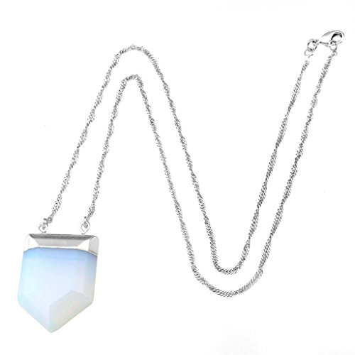 JOVIVI Silver Plated 4 Facted Sword Gemstone Crystal Chakra Pendant with Platinum Necklace (Opalite)
