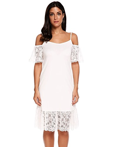 ACEVOG Women's Summer Cold Shoulder Crochet Lace Sleeve Loose Beach Dress