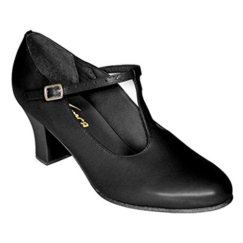 "Zodat Danca Ch40 T-strap Karakter Shoe With 2"" Hiel Black"