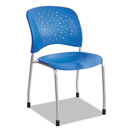 Round Back Armless Guest Chair - Safco Products 6805LA Reve Guest Chair Straight Leg with Round Back, Lapis
