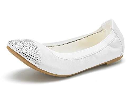 DREAM PAIRS Women's Sole-Flex-D White Rhinestone Ballerina Walking Flats Shoes - 8 M US -