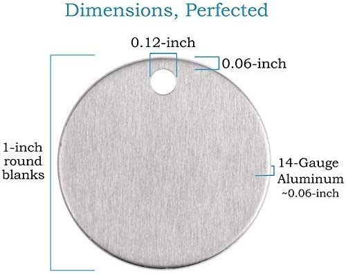 Soft Temper 1 Soft Strike Aluminum Stamping Blanks with Hole Deeper Impressions. 100 Pack 0,06 Thick
