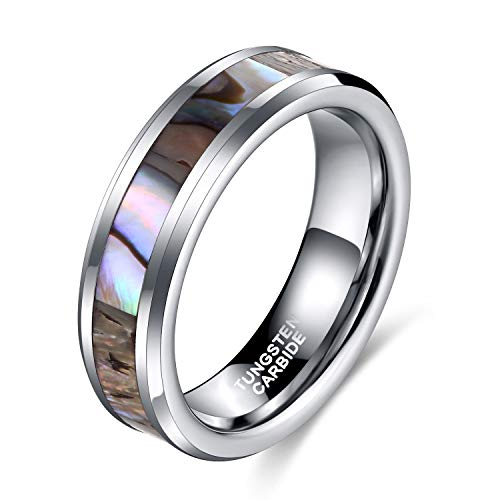 - 6mm 8mm Tungsten Rings Abalone Shell Comfort Fit Wedding Band for Women Men (6mm(Tungsten), 8)