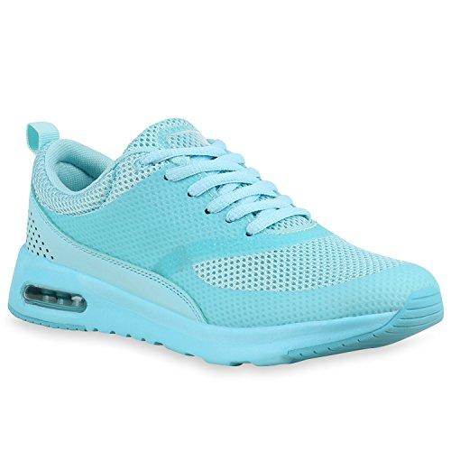 Stiefelparadies Damen Sportschuhe Runners Sneakers Laufschuhe Fitness Trendfarben Sportliche Schnürer Flandell Türkis