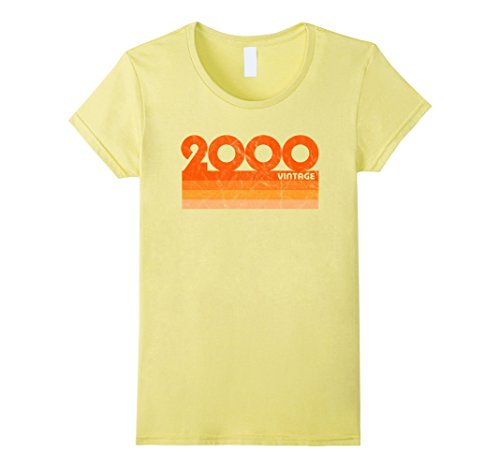 Womens Vintage Retro 2000 T-Shirt 18 yrs old Bday 18th Birthday Tee Small Lemon (18th Tee)