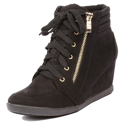 Coshare Women's Fashion Versatile Ankle High Top Wedge Sneakers
