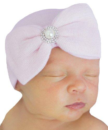Melondipity's Newborn Girl Pink Bow Pearl Vintage Nursery Hospital Hat -Pink ()